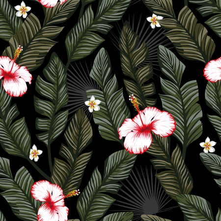 Green banana leaves and white red hibiscus, plumeria exotic tropical flowers seamless vector pattern on the black backgorund. Beach wallpaper Ilustracja