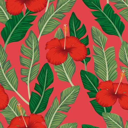 Green banana leaves and red hibiscus exotic tropical flowers seamless vector pattern on the coral backgorund. Beach wallpaper