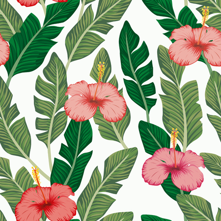 Green banana leaves and pink hibiscus exotic tropical flowers seamless vector pattern on the white backgorund. Beach wallpaper