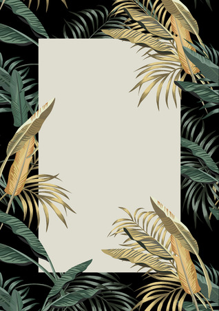 Summer poster template, exotic tropical plant banana leaves vector frame flyer A4 layout size design Ilustracja