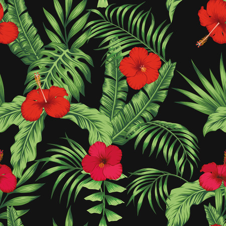 Exotic tropical flowers pink and red hibiscus, green monstera, palm leaves pattern seamless on the black background. Beach vector wallpaper