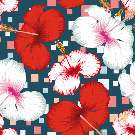 Exotic tropical flowers red and white hibiscus seamless pattern realistic vector on the abstract multicolor square blue background Standard-Bild - 119501257