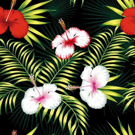 Beautiful tropical vector flowers red and white hibiscus, green realistic palm leaves seamless botanical pattern on the black background