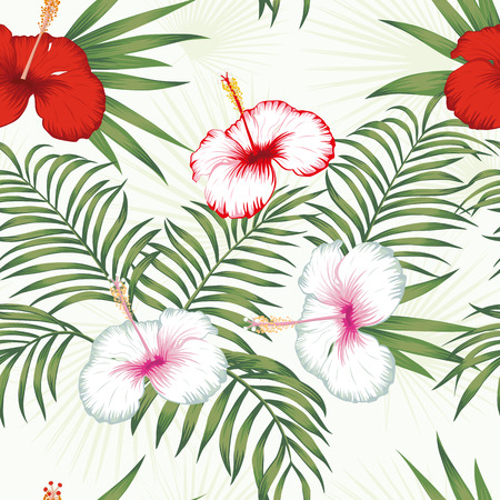 Beautiful tropical vector flowers red and white hibiscus, green realistic palm leaves seamless botanical pattern on the white background