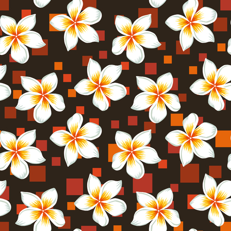 Exotic beautiful tropical flowers white plumeria (frangipani) seamless botanical pattern, realistic vector on the abstract orange square brown background Illustration