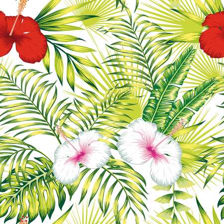 Beautiful tropical vector flowers red and white hibiscus, green realistic palm, banana leaves seamless botanical repeat pattern on the white background