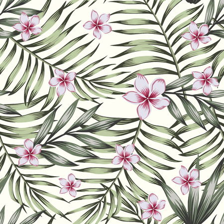 Exotic flowers plumeria (frangipani) with green plants seamless vector pattern on the white background