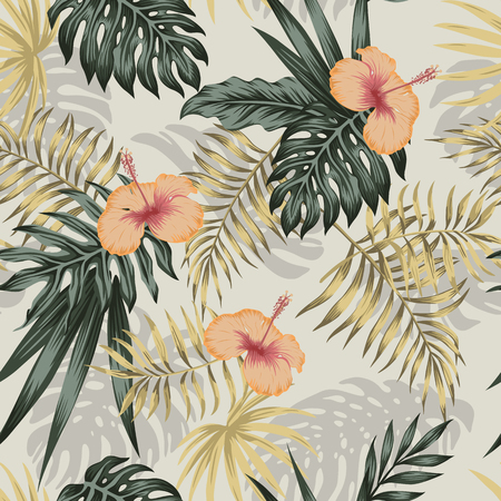 Green and golden tropical palm banana leaves, orange hibiscus flowers seamless vector pattern on the beige background