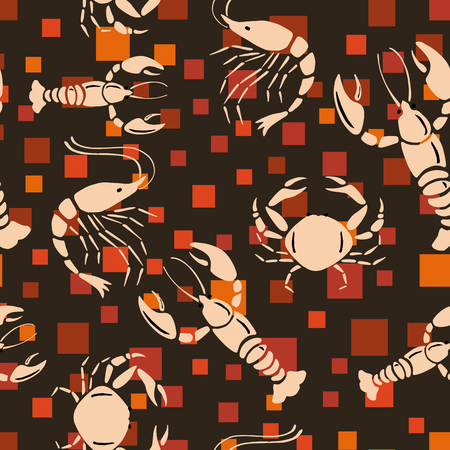 Cool vector sea creatures crayfish, shrimp, crab seamless pattern on the orange square chocolate background