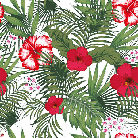 Tropical exotic realistic flowers plumeria (frangipani) and white, red hibiscus, green palm, banana leaves seamless vector pattern on the white background Stock Illustratie