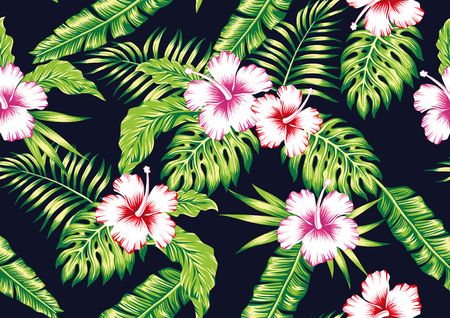 Tropical exotic realistic flowers red, pink, white hibiscus, green foliage seamless vector pattern on the black background Banco de Imagens - 122038842