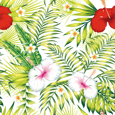 Tropical exotic realistic flowers white, red hibiscus, green foliage palm, banana leaves seamless vector pattern on the white background Illusztráció