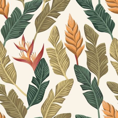Trendy botanical wallpaper from realistic vector banana leaves and tropical flowers seamless pattern on the white background Çizim