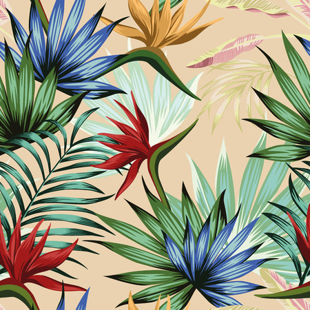 Exotic botanical wallpaper multicolor realistic flat vector tropical jungle flowers bird of paradise and foliage seamless pattern on the pink background