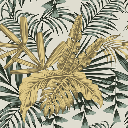 Realistic vector composition from golden and green palm banana leaves seamless pattern on the white background