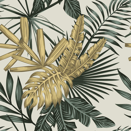 Realistic tropical vector composition from golden and green palm banana monstera leaves seamless pattern on the white background