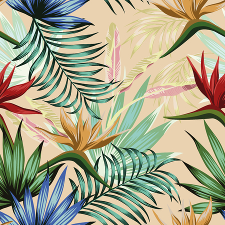 Exotic botanical vivid wallpaper multicolor realistic flat vector tropical flowers bird of paradise and foliage seamless pattern on the beige background Ilustracja