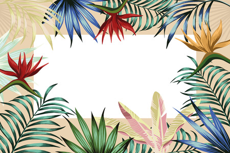 For any event invitation card template. Exotic tropical jungle rainforest multicolor vivid palm tree and monstera leaves hibiscus flowers border frame design for banner or flyer on the white background. Horizontal layout