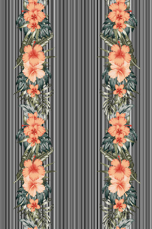 Botanical card template. Exotic tropical jungle multicolor vivid palm tree and monstera leaves hibiscus flowers plumeria border frame design for banner or flyer on the stripe black white background. Vertical layout