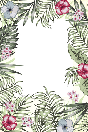 Various event invitation card template. Exotic tropical jungle rainforest green palm tree and monstera leaves hibiscus flowers border frame on the white background. Vertical layout