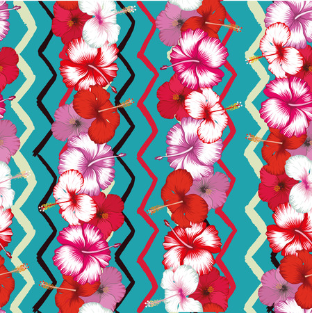 Exotic stripes of flowers hibiscus on the multicolor zigzag seamless background. Fabric vector pattern