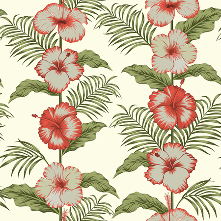 Tropical hibiscus fabric seamless composition trendy pattern on the light yellow background Ilustracja