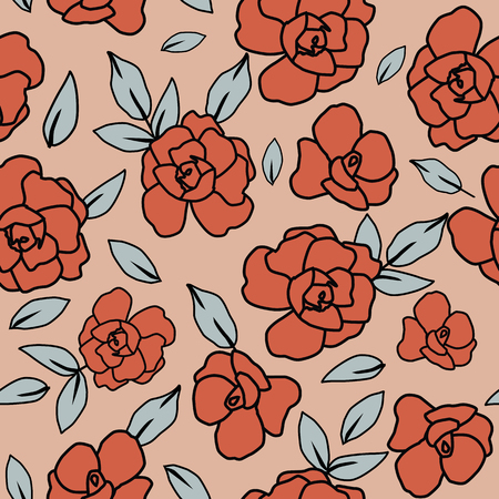 Abstract color roses flowers and leaves seamless pattern on the orange background. Vlat vector composition