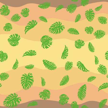 Exotic monstera green leaves seamles pattern on the desert color background