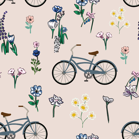 Seamless composition of bicycle and meadow flowers on the pink background. Flat vector wallpaper.