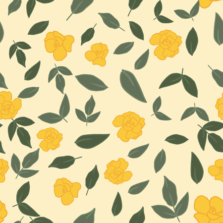 Yellow roses flowers and green leaves seamless pattern on the light yellow background. Vlat vector composition