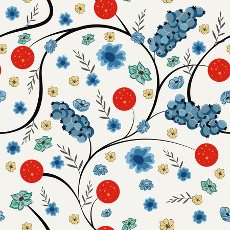 Floral berry seamless pattern spring flowers. Vector composition