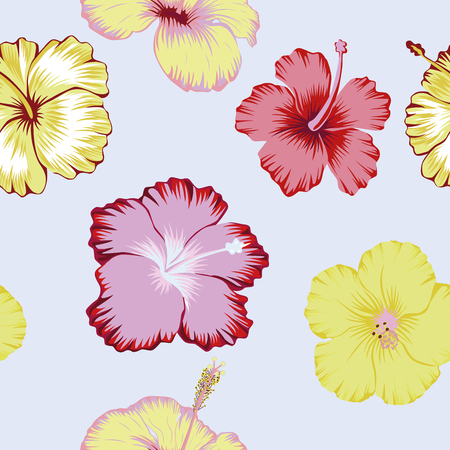 Tropical hibiscus flowers seamless vector pattern abstract color on the light background