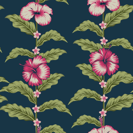 Seamless realicstic vector composition fabric pattern tropical design hibiscus, plumeria flowers and exotic leaves on the blue background Ilustracja