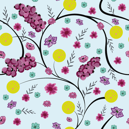 Winter floral seamless composition vector pattern flowers and berries Ilustracja