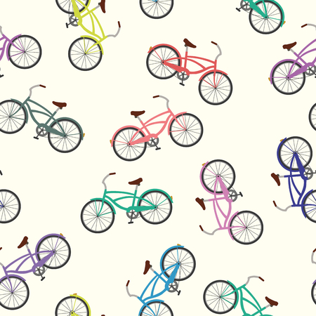 Summer pattern vector multicolor bicycle seamless on the white background
