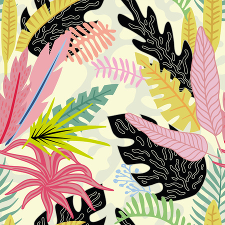 Cartoon flat vector vivid tropical leaves on the beige background. Summer seamless pattern.