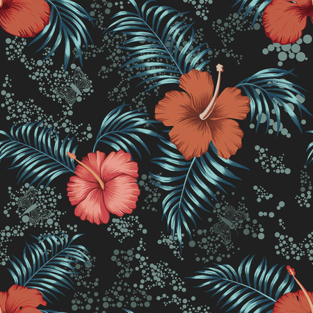 Exotic tropical red hibiscus flowers and blue leaves, butterflies seamless vector pattern on the scattered circles background
