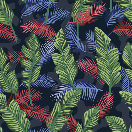 Multicolor exotic tropical banana leaves seamless vector pattern on the blue camo background