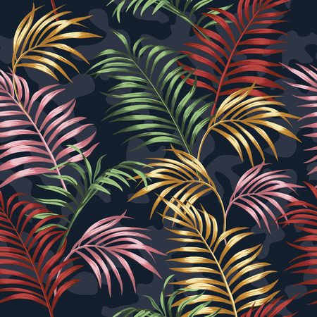 Vivid color tropical leaves seamless vector pattern on the blue camo background