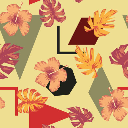 Abstract composition tropical flowers and leaves on the multicolor geometric figures background. Trendy wallpaper