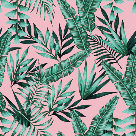 Tropical vector realistic green leaves seamless pattern pink background. Exotic trendy wallpaper Çizim