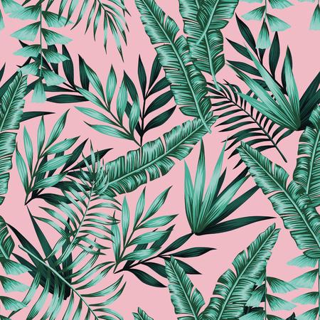 Vettore tropicale realistico foglie verdi senza cuciture sfondo rosa. Carta da parati esotica alla moda Vettoriali