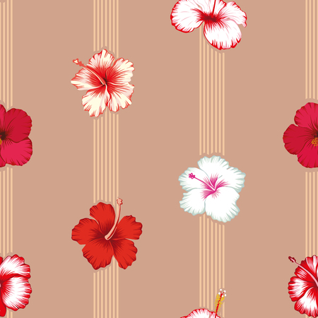 Geometric lines with tropical hibiscus flowers seamless pattern Illustration
