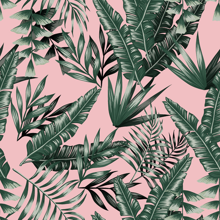 Green tropical palm banana leaves with shadow seamless vector patternon the pink background Vectores