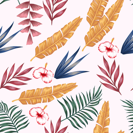 Vivid multicolor palm banana leaves and hibiscus flowers seamless pattern on the white background