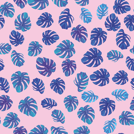 Tropical monstera leaves in blue tone seamless pattern on the pink background. Trendy vector illustration