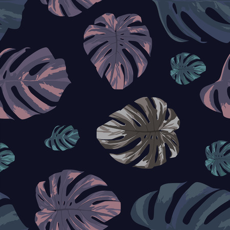 Abstract color tropical monstera leaves seamless pattern on the black background. Modern vector illustration