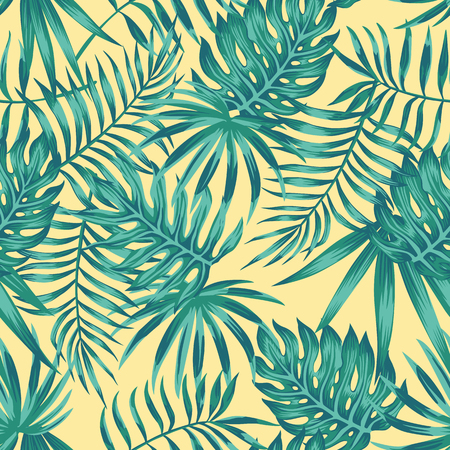 Tropical palm, monstera, fern leaves blue tone on the yellow background. Seamless vector pattern Ilustracja