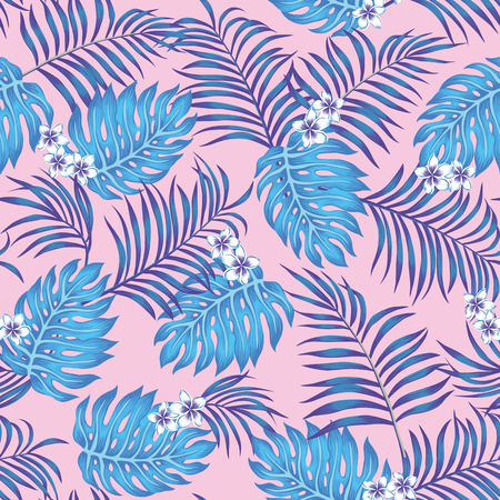 Blue exotic tropical leaves and plumeria (frangipani) flowers seamless vector on the pink background. Floral pattern