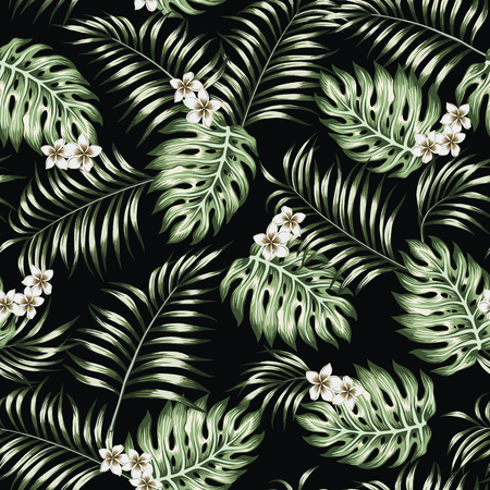 Green exotic tropical leaves and plumeria (frangipani) flowers seamless vector on the black background. Floral pattern